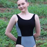 Elise Tank Leotard in Black and Grey
