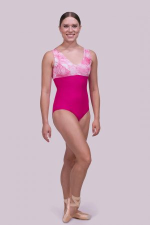 Riley Pink Leotard in Watercolor Flowers and Lipstick Pink