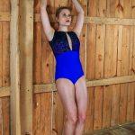 Kat Leotard Royal Blue/Nude Mesh
