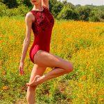 Kat Red Velvet Leotard