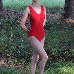 Mandy Bold Red Halter Leotard