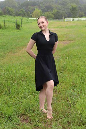 Nicole Dance Skirt Long | Black Athletic Mesh