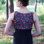 Riley Red Poppy Leotard in Black
