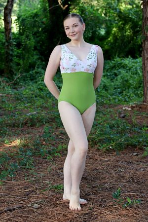 Riley Moss Green Leotard   Beautiful Floral Print and Green