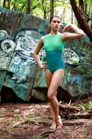Sophia Boatneck Leotard Mint Lace and Peacock