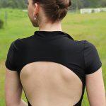 Zuri Black Striped Leotard Top with Collar