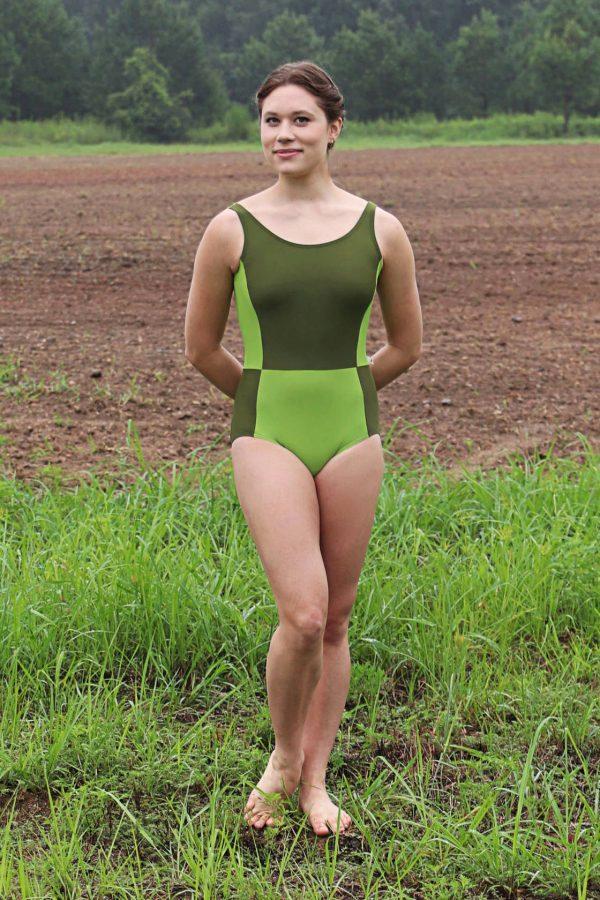 Elise Green Tank Leotard