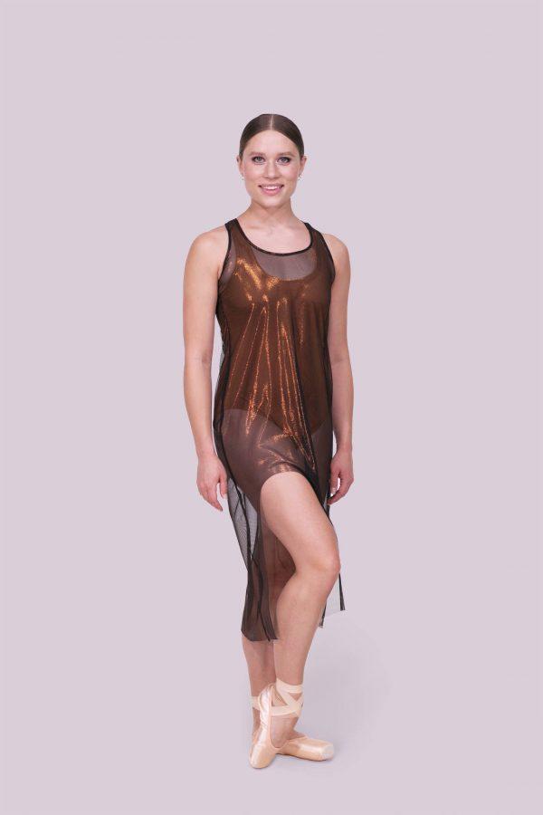Tonya Tank Mesh Dress Metallic Copper