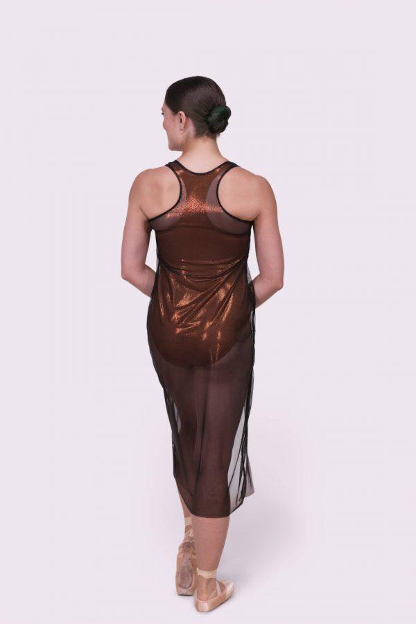 Tonya Metallic Copper Dress