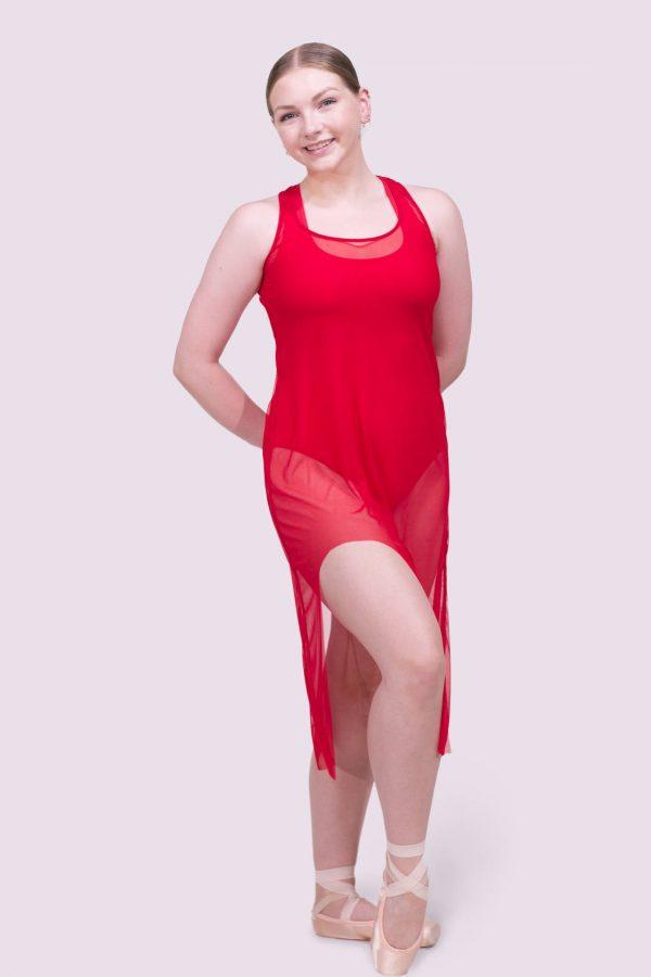 Tonya Crimson Tank Mesh Dress